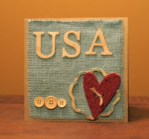 Patriotic Card with Burlap