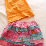 DIY recycled t-shirt button skirt by Jen Goode