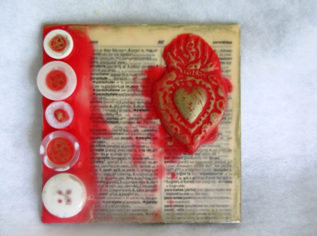 Encaustic Art mixed media collage with buttons