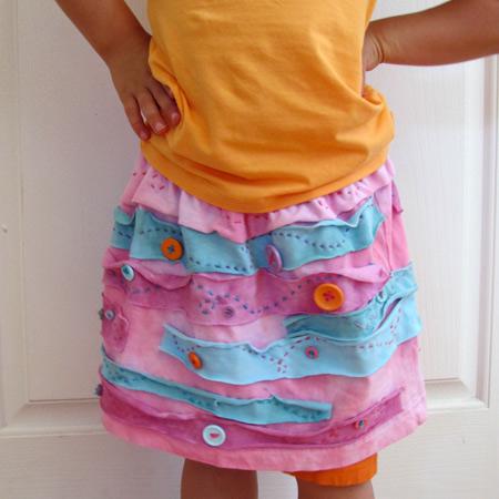 Cute Recycled T Shirt Button Skirt