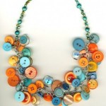 Orange and Blue Button Necklace