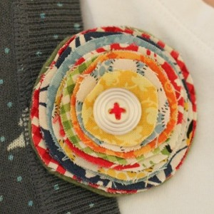 Button and Fabric Circle Brooch