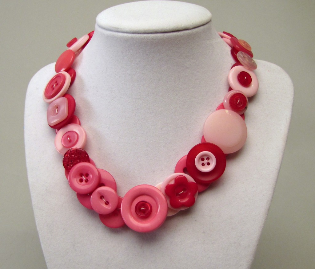 Pink and red button necklace