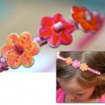 Button and bead embellished headband by Jen Goode