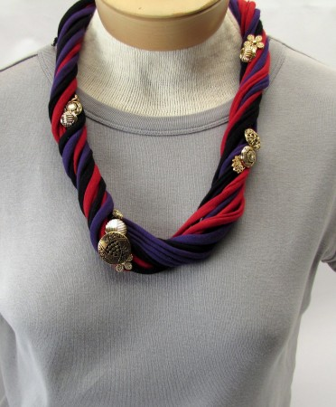 Button Embellished T-shirt Necklace