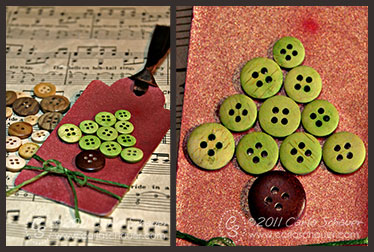 button tree gift tag by Carla Schauer