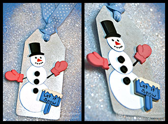 button snowman gift tag by Carla Schauer