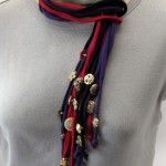 Button Embellished Lariat Style T-Shirt Necklace