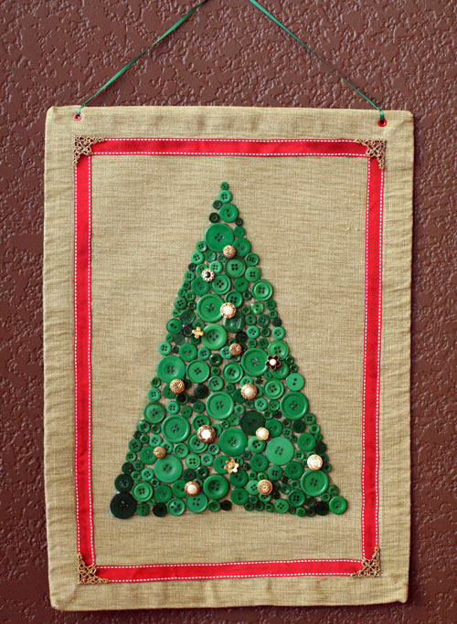Pretty button collage Christmas Tree by Jen Goode