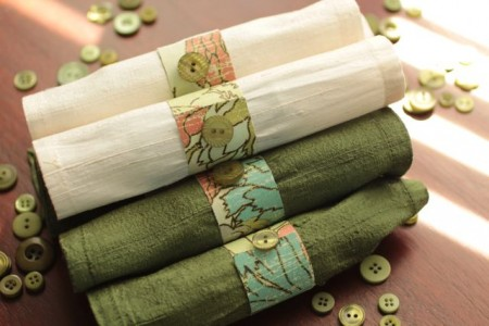 Button embellished napkin rings
