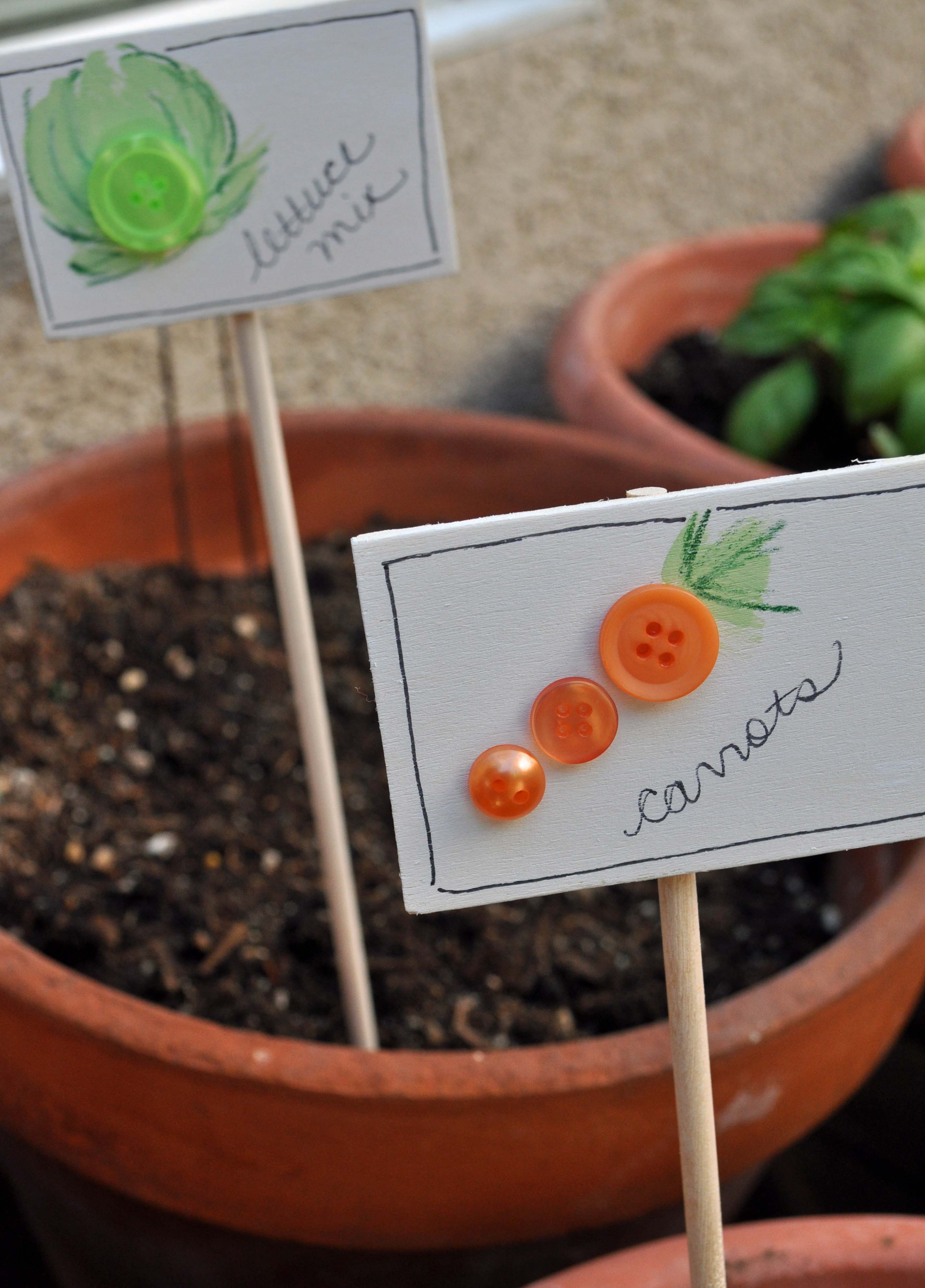 Homemade Button Garden Markers