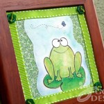 Happy Frog and Fly wall decor with button accents by Jen Goode