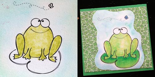 Print, color and adhere frog art on background papers