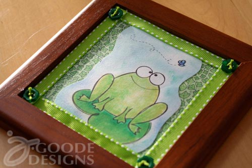 Finished Happy frog art with cute flower buttons