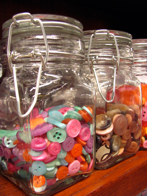 Store buttons in fun glass jars