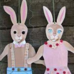 hand painted bunnies with buttons