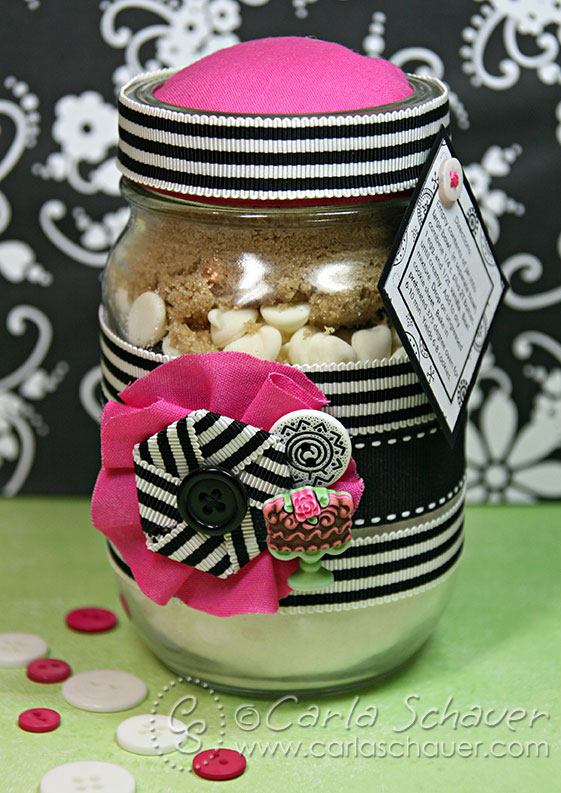 Layered Jar Baking Party Favors using buttons