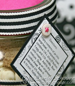 Layered jar  mix party favor tag with button decorations