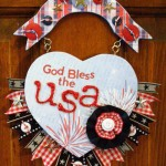 Patriotic God Bless the USA Wall Hanging by Linda Auclair