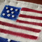 paint burlap and button American flag decor