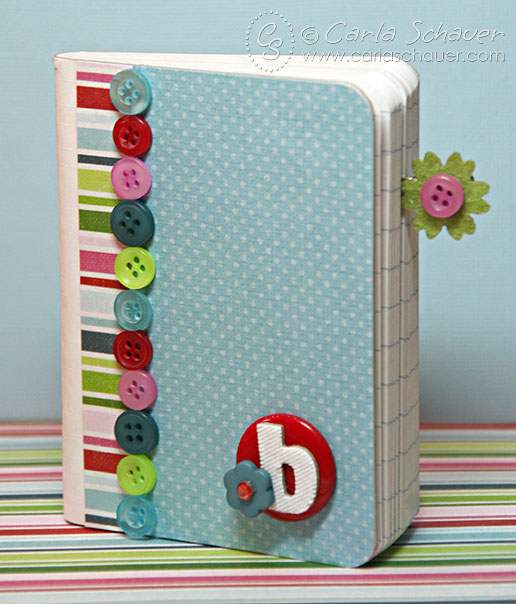 Button-embellished mini-composition notebook