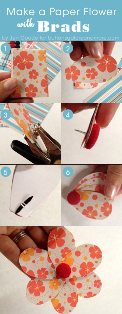 steps to make a paper flower with a brad