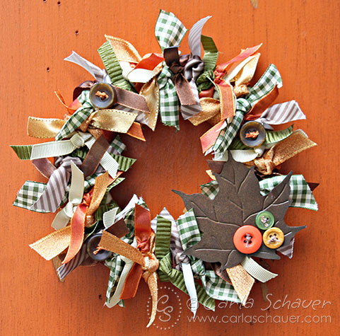 Fall Ribbon Wreath with Button Accents