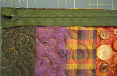 Fall Zippered Bag with Buttons by Denise Clason