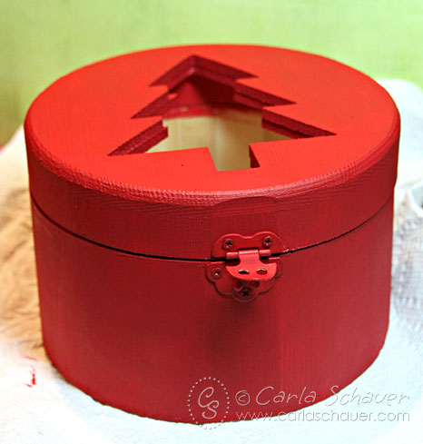 Red Painted Wood Gift Box with Holiday Buttons