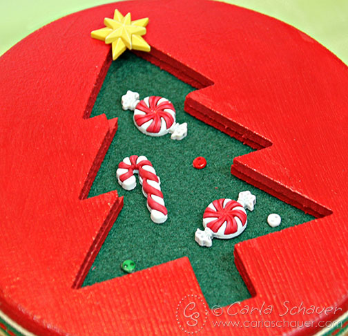 Button Embellished Holiday Gift Box Lid