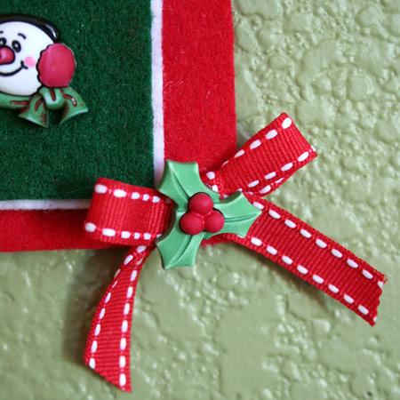 Christmas button decor closeup