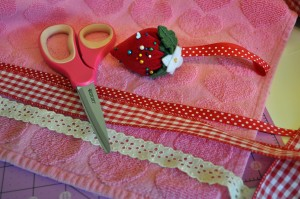 Sew Ribbon Onto Towel valentine's day home decor