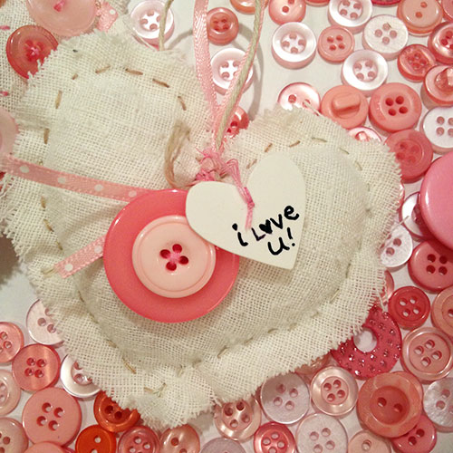 Pretty button heart ornament Pink Fabric Hearts with Buttons - Valentine decoration