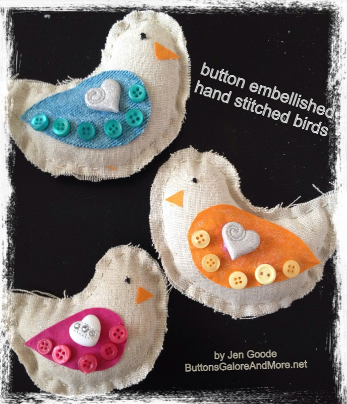 Button Embellished hand stitched birdies