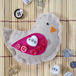 Pretty button embellished bird by Jen Goode