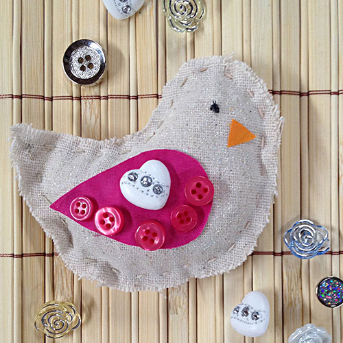 Pretty button embellished birds by Jen Goode