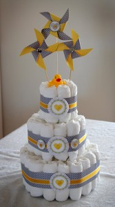 handmade yellow and grey baby shower decor