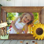 Summertime Picture Frame-Sunflower & Wood buttons