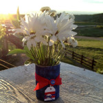 Red White and Blue flower vase
