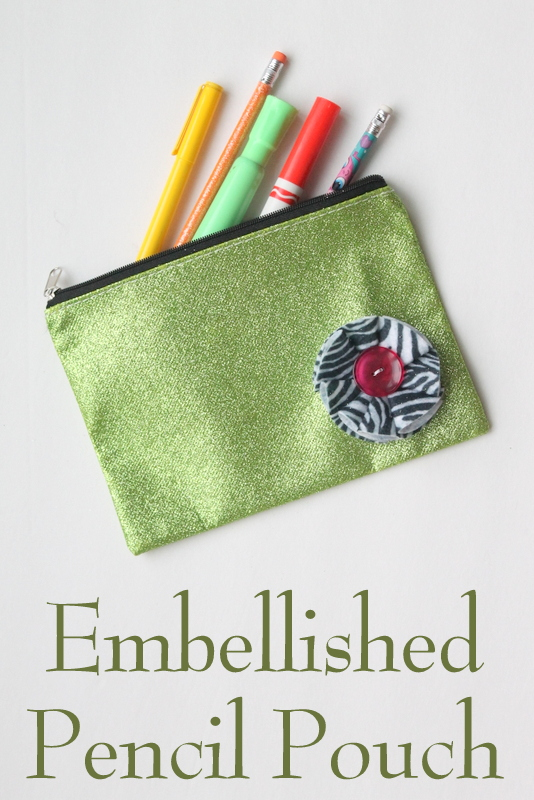 back to school embellished pencil pouch