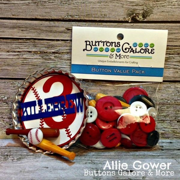 Create a fun Baseball themed embellishment with Baseball Buttons.