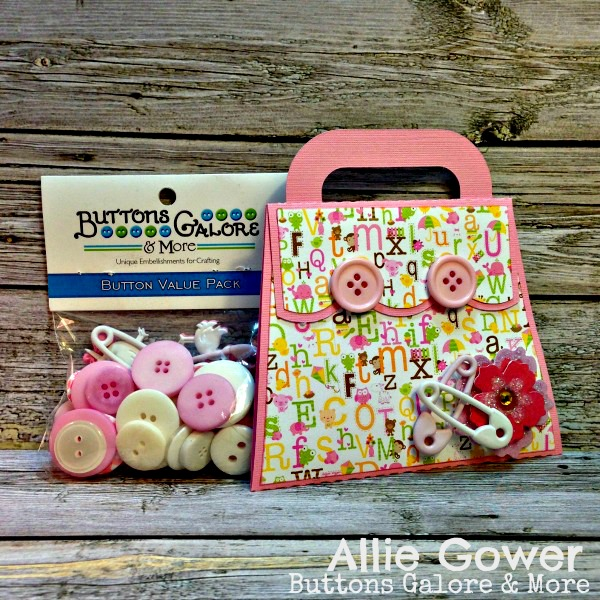 Use It's a Girl Buttons to create a Welcome Baby Girl Purse Card.