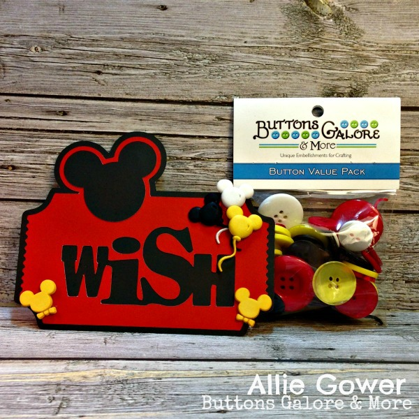 Create a Disney Style Embellishment for your Scrapbook page with Vacation Buttons.