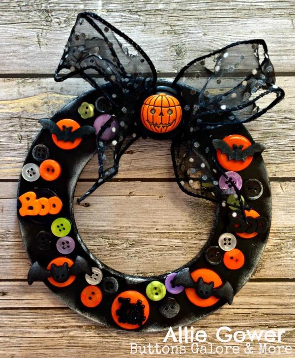 Create a Halloween Wreath using Halloween Buttons.