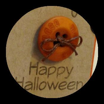 tangerine button, waxed linen, card making