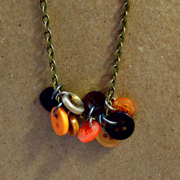 button jewelry, button charms, fall necklace, seasonal button necklace