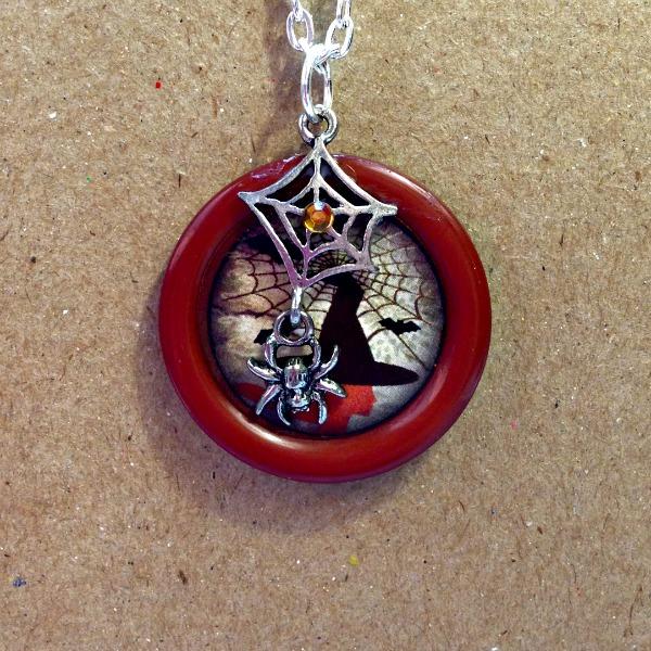 halloween, halloween jewelry, button jewelry, spiderweb necklace