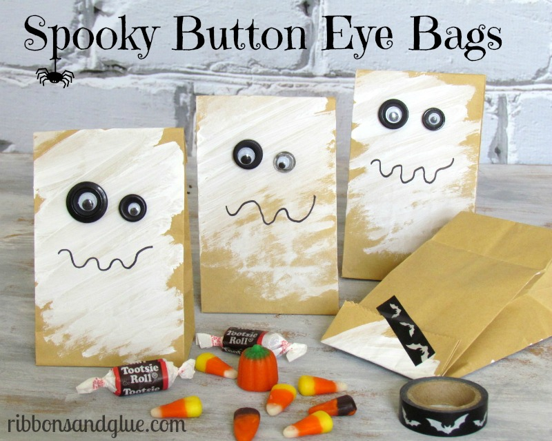 Spooky Button Eye Ghost Bags - great for Halloween Treat Bags