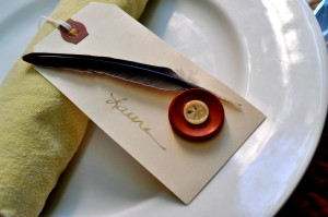 Feathers and Buttons Place Card