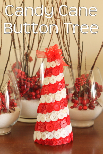 Candy Cane Button Tree -- make this simple tree with a few supplies and some hot glue.
